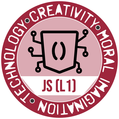 The JavaScript (Level 1) Badge from the Westmont Center for Technology, Creativity and the Moral Imagination
