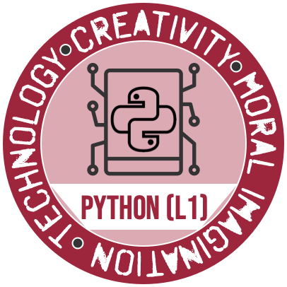 The Python (Level 1) Badge from the Westmont Center for Technology, Creativity and the Moral Imagination